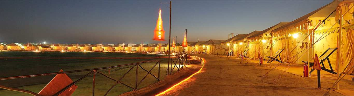 GLIMPSE OF WHITE RANN VIJAY VILAS PALACE AND TENT CITY OF RANN UTSAV